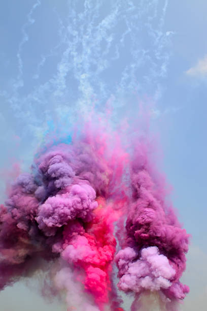 colored smoke colored smoke in the sky chemical reaction stock pictures, royalty-free photos & images
