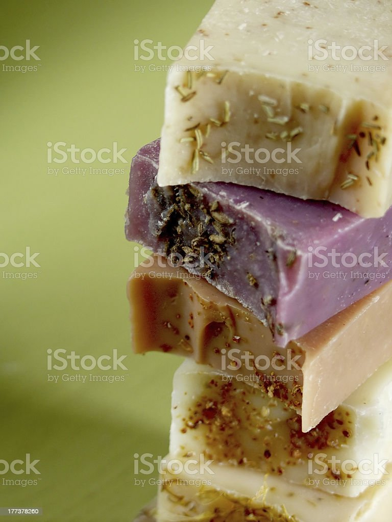 Colored Soaps on Green royalty-free stock photo