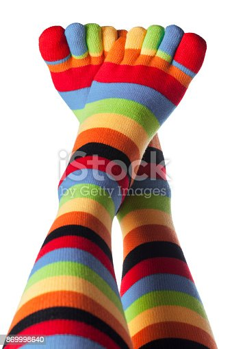 Colored socks with fingers on a white background.