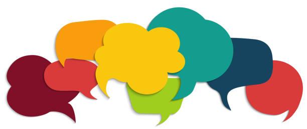 burbuja de habla de color. concepto de comunicación. red social. nube de colores. hablar - discusión - chat. símbolo hablando y comunicarse. amistad y diálogo con culturas diversas - globos de habla fotografías e imágenes de stock