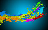 Colored splashes in stripe shape, isolated on dark background