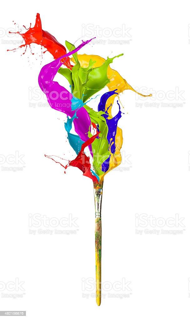 Colored splashing brush on white background stock photo