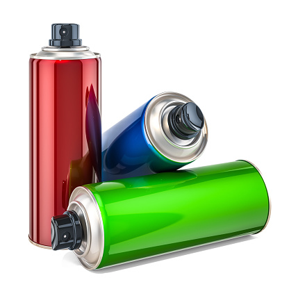 Colored spray paint cans. 3D rendering  isolated on white background