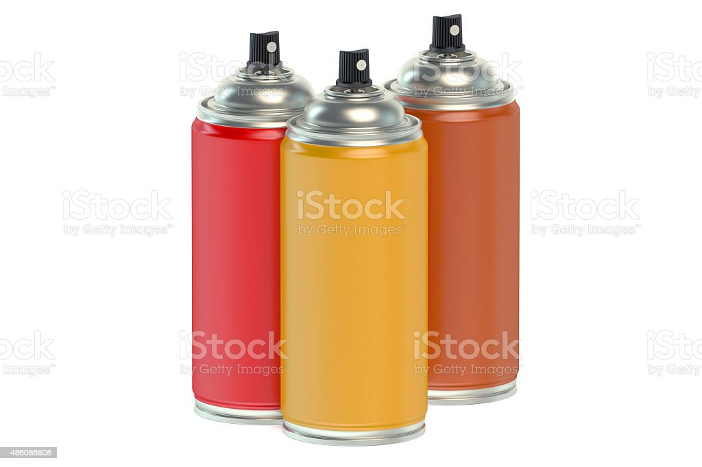 Colored spray paint cans stock photo