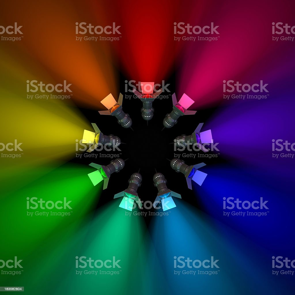 Colored stage lights emitting spectral colors royalty-free stock photo