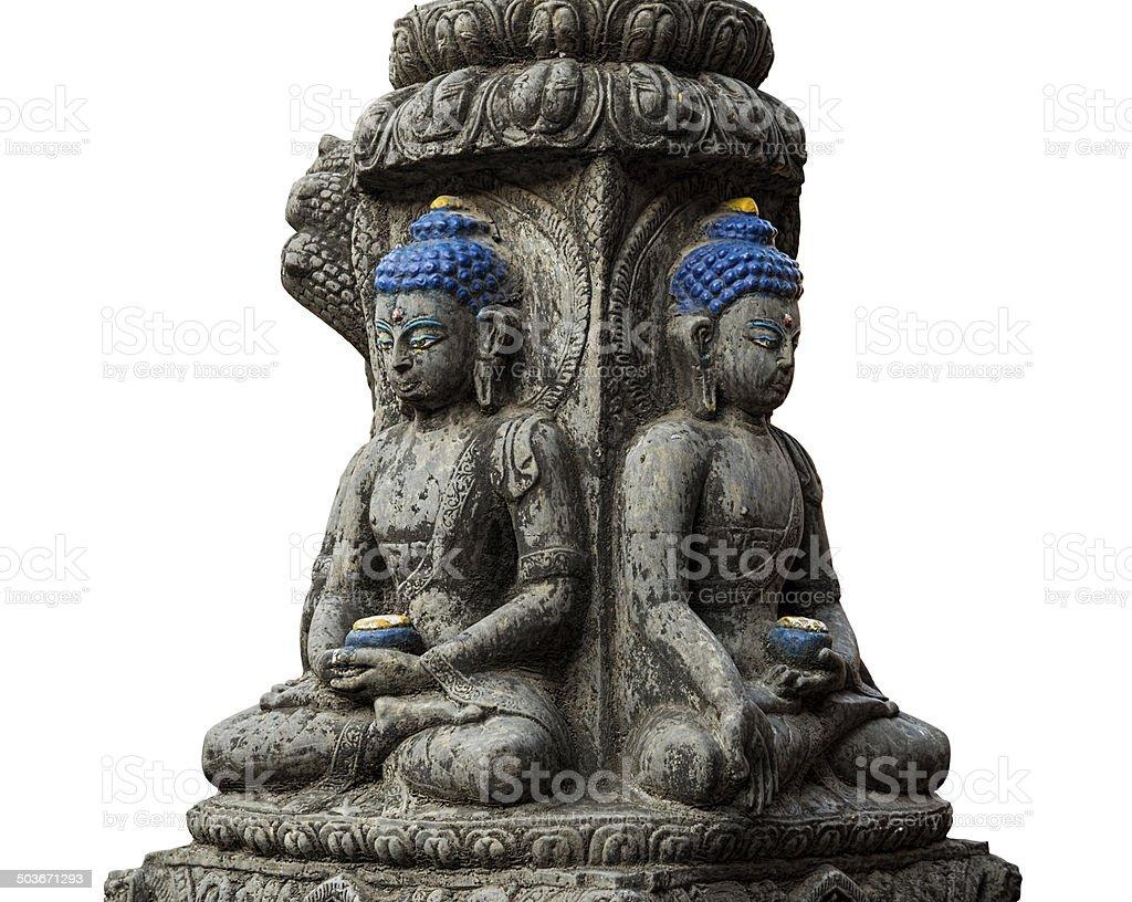 Colored stone buddha statue isolated on white stock photo