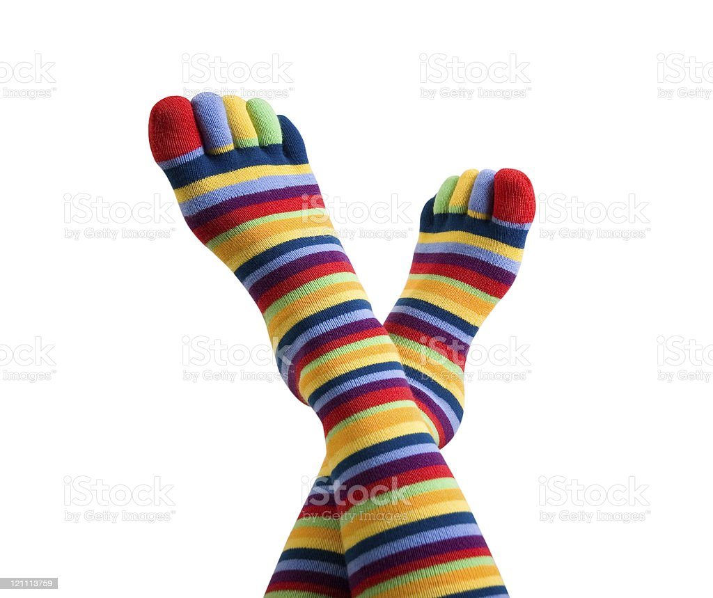 colored striped socks stock photo