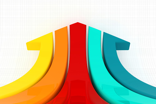 istock Colored stripes that make an arrow on lined background 465129952