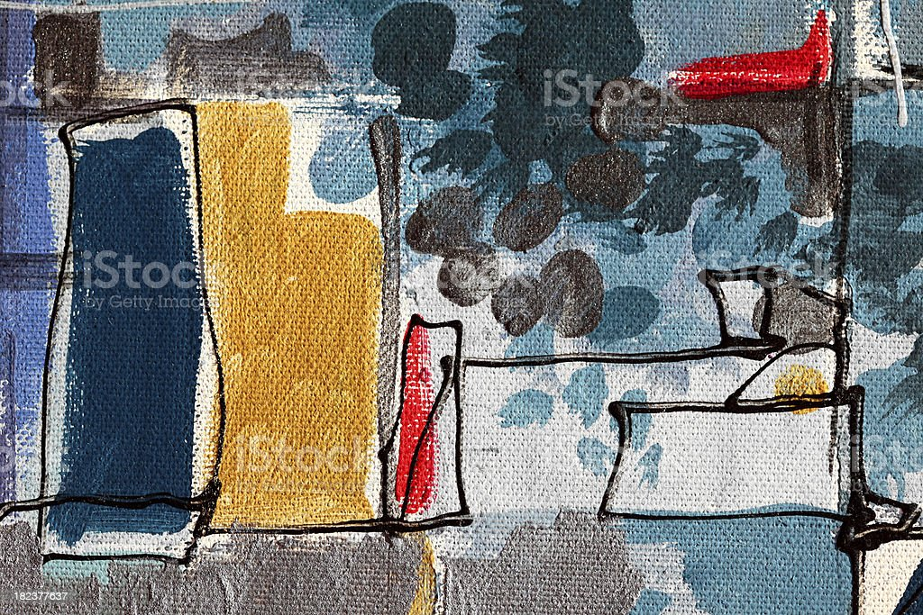 Colored structures and sky, abstract oil on canvas royalty-free stock photo