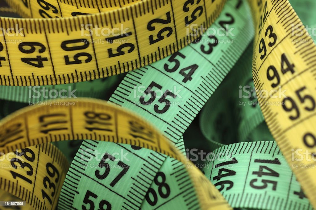 Colored tape measures royalty-free stock photo
