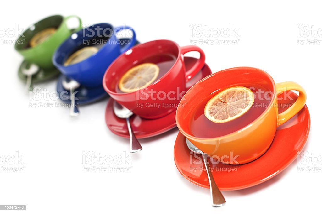 Colored tea cups royalty-free stock photo