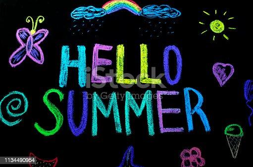 882318110 istock photo colored text hello summer on blackboard 1134490954