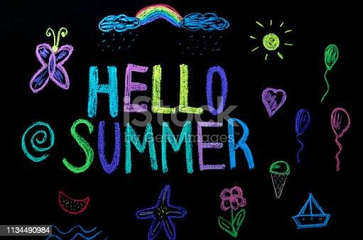 882318110 istock photo colored text hello summer on blackboard 1134490984