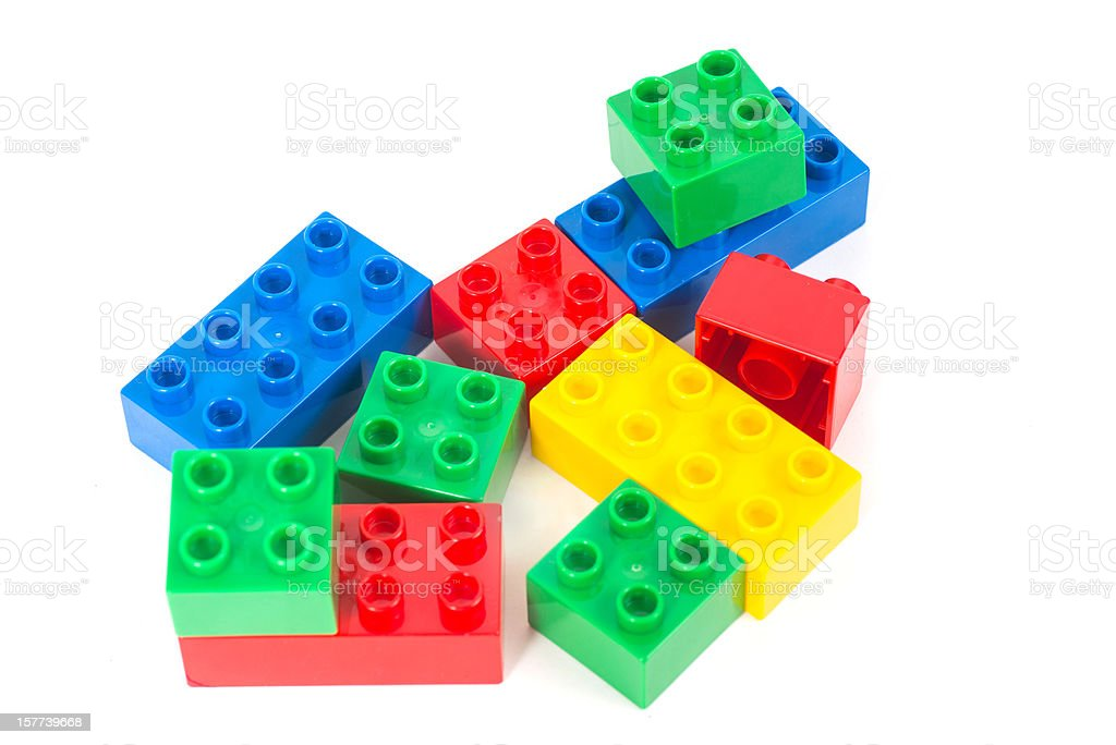 colored toy cubes - Bunte Bausteine stock photo