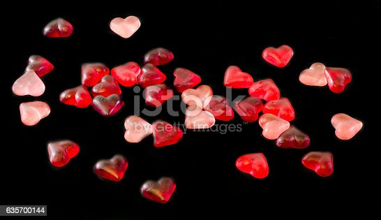 Colored Transparent Heart Shape Jellies Stock Photo & More Pictures of Backgrounds
