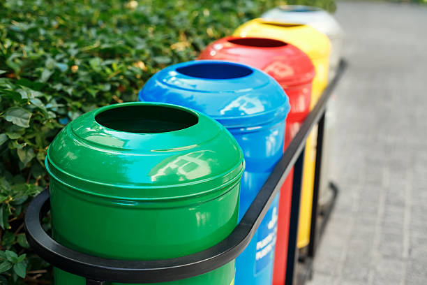 Colored trash containers for garbage separation - Photo
