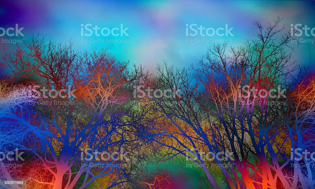 Colored Trees and Sky Background stock photo