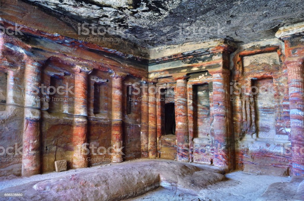 Colored Triclinium in Petra, Jordan stock photo