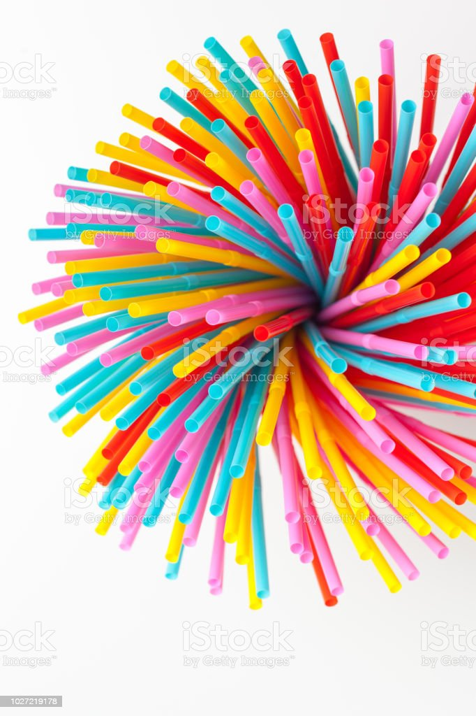 Colored tubules for juice and cocktails stock photo