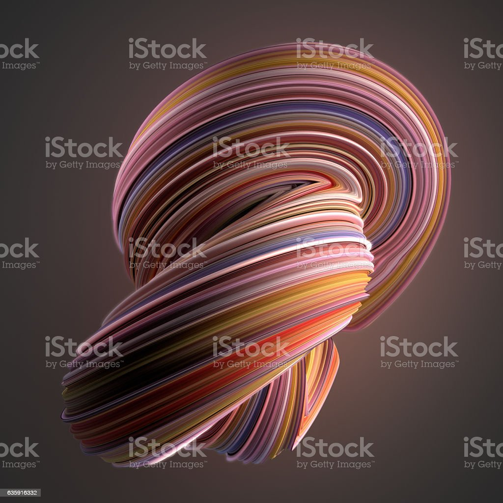 Colored twisted shape. Computer generated abstract geometric 3D render illustration stock photo