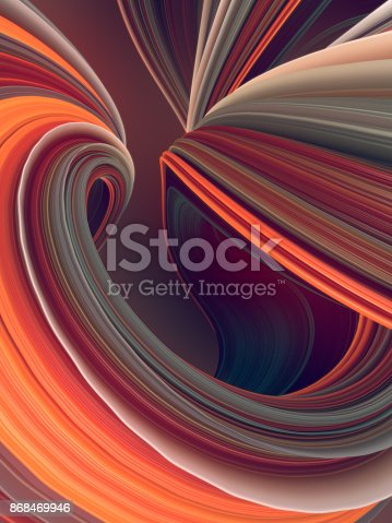 istock Colored twisted shape. Computer generated abstract geometric 3D render illustration 868469946