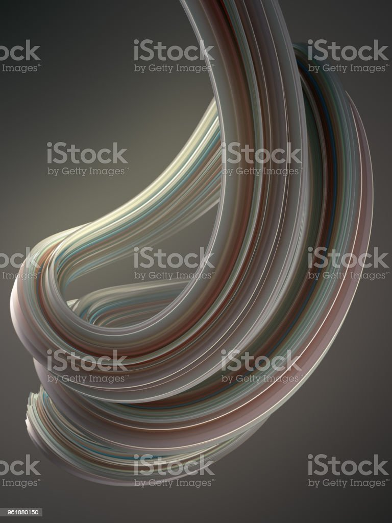 Colored twisted shape. Computer generated abstract geometric 3D render illustration royalty-free stock photo