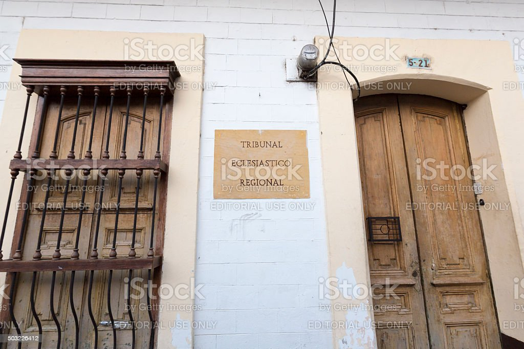 Colored wall and door, colonial architecture in Cali stock photo