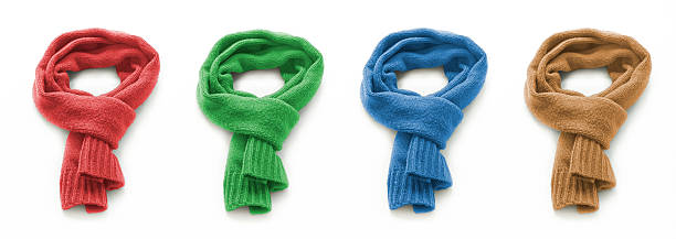 Colored warm scarf on a white background Colored warm scarf on a white background headscarf stock pictures, royalty-free photos & images