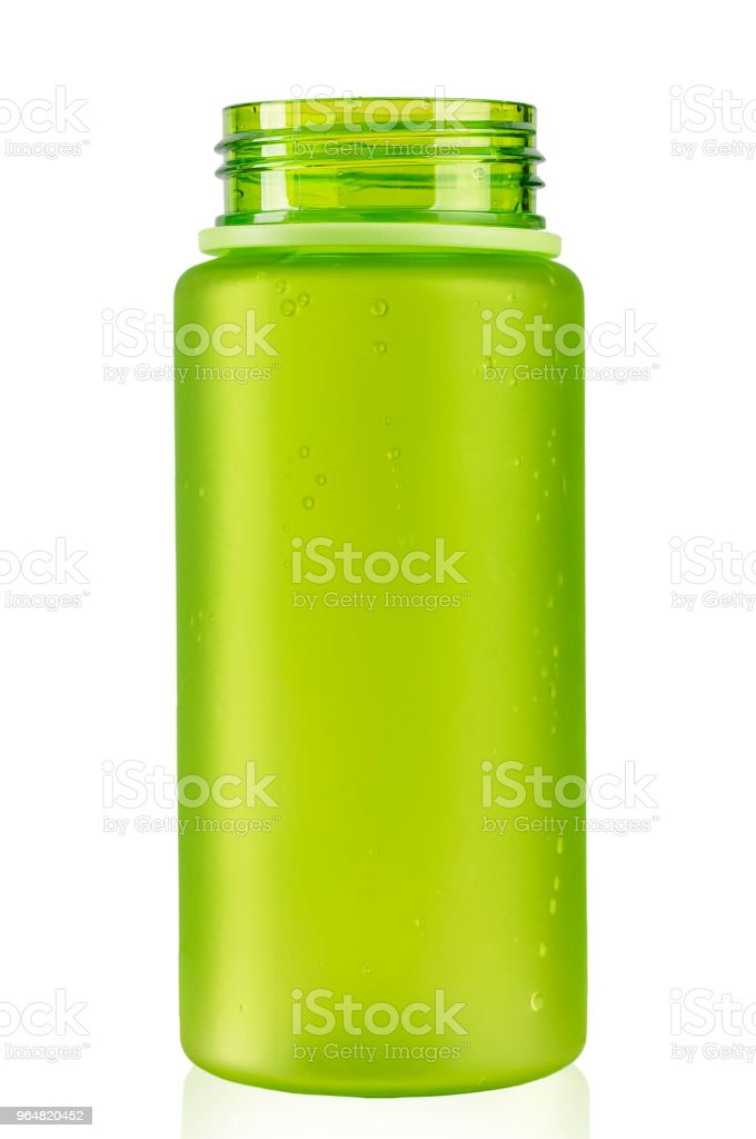 colored water bottle for a cyclist on a white background. isolated. with an unscrewed lid. royalty-free stock photo