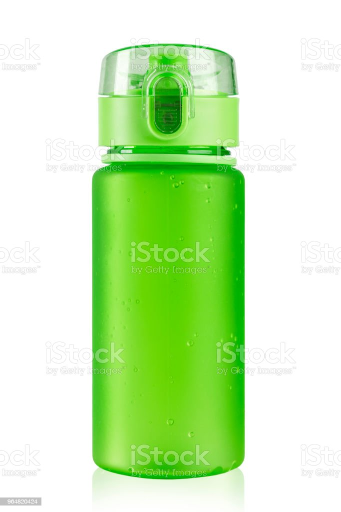 colored water bottle for a cyclist on a white background. isolated. royalty-free stock photo