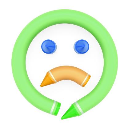 Mum Boya Kalemi Monte Yuz Uzgun Emoji Gibi Ifade Beyaz Arka Plan