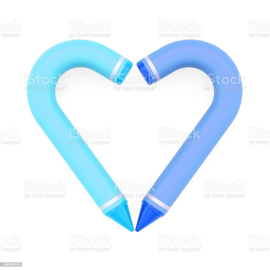 Renkli Mum Boya Kalemi Gibi Mavi Kalp Simgesi Islenmis Beyaz Arka