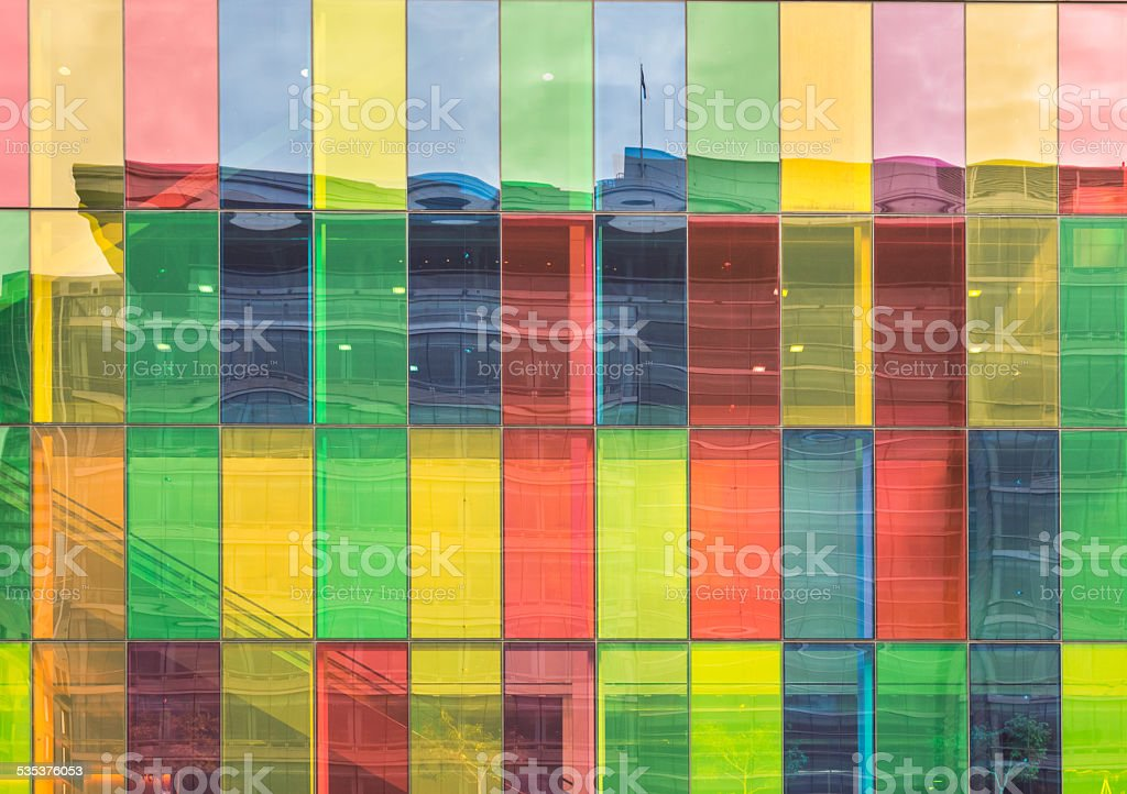 Colored windows reflections  on Montreal Convention Center stock photo
