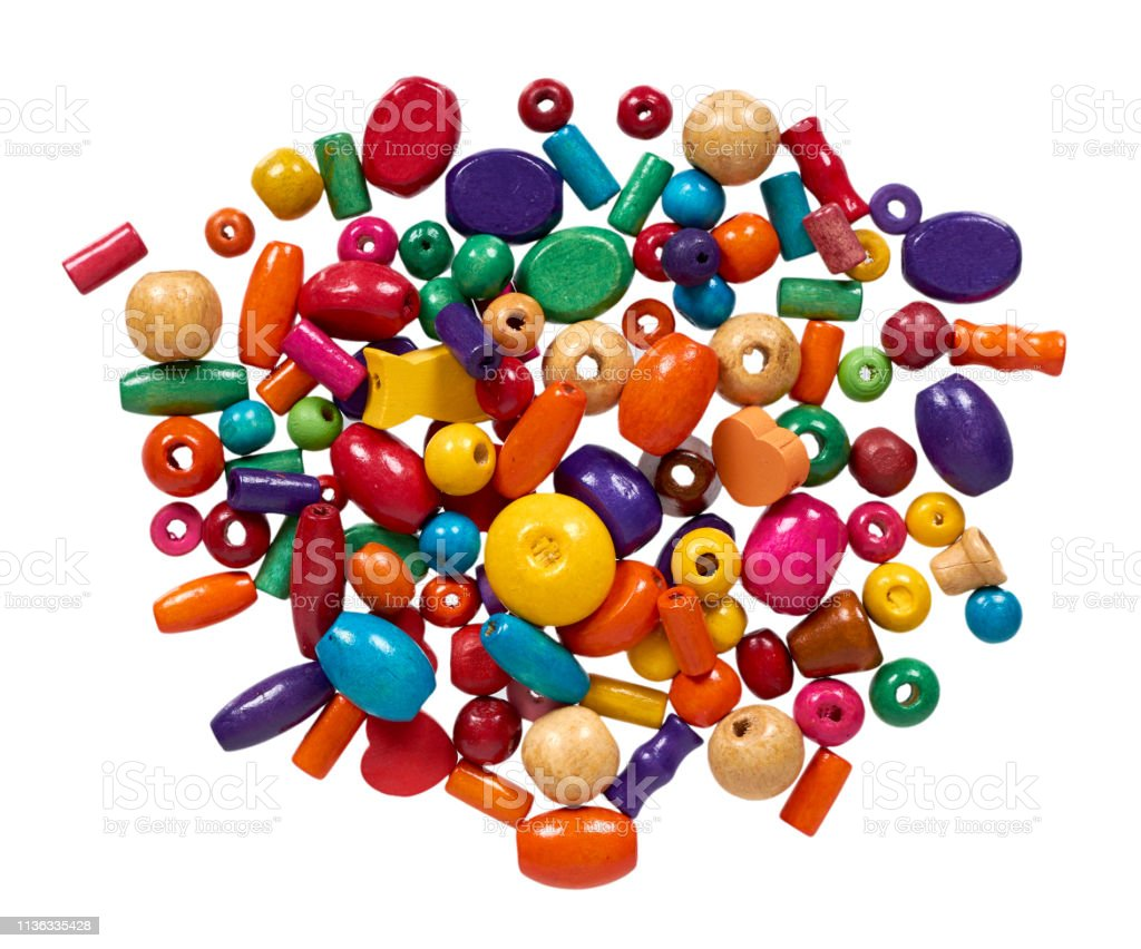 Colored wooden beads, decorative accessory for hand made. - Zbiór zdjęć royalty-free (Bez ludzi)