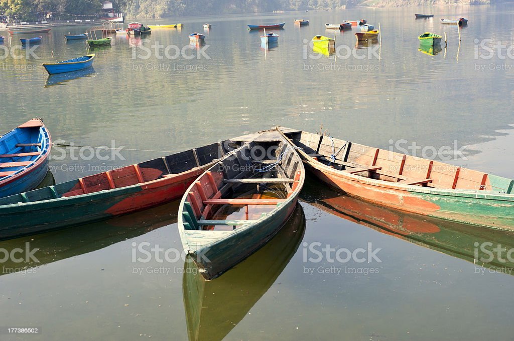 Colored wooden boat royalty-free stock photo