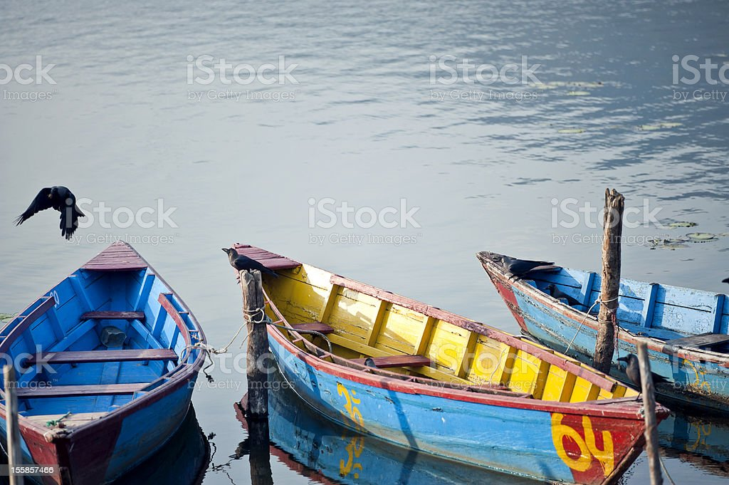 Colored wooden boats royalty-free stock photo