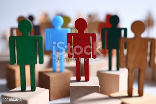 Colored wooden figures business men suits on bars. Employee readiness for changes in organization. Manipulative methods influencing people. Building relationships with promising specialists