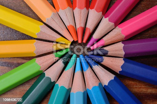 1137970382 istock photo colored wooden pencils located a circle, a close up 1098406722