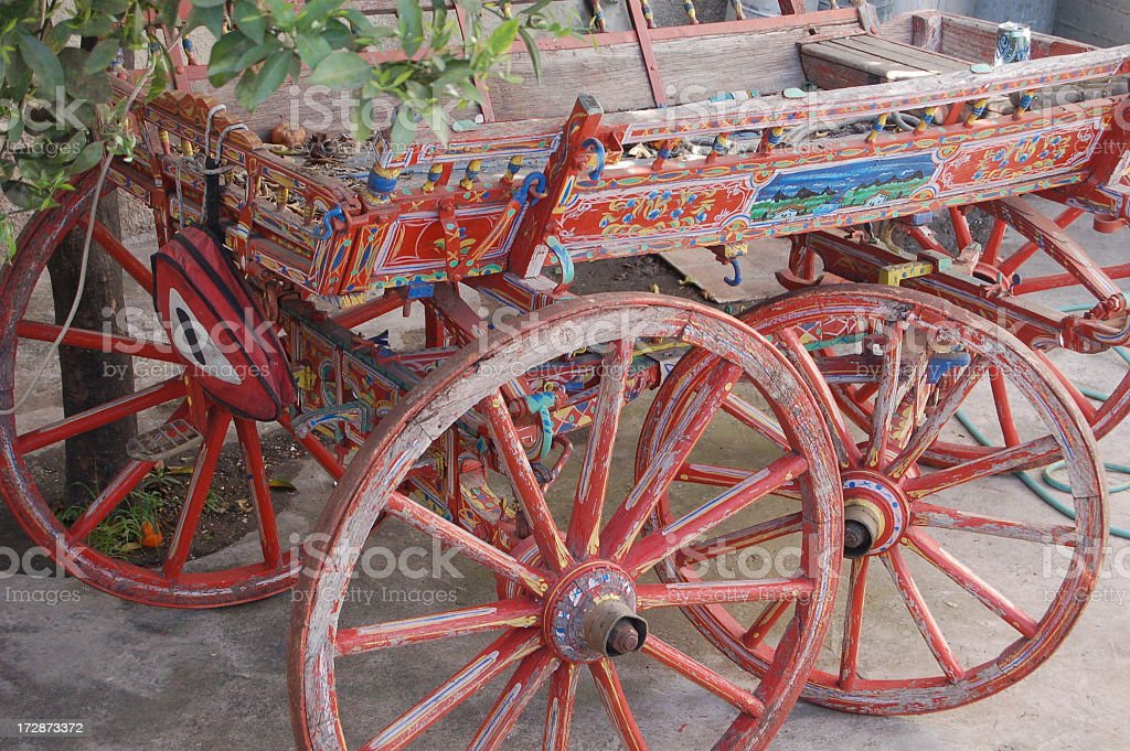 Colored Wooden Wagon stock photo