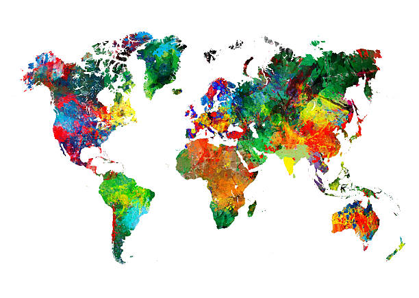 colored world map xxxl - continent geographic area stock photos and pictures