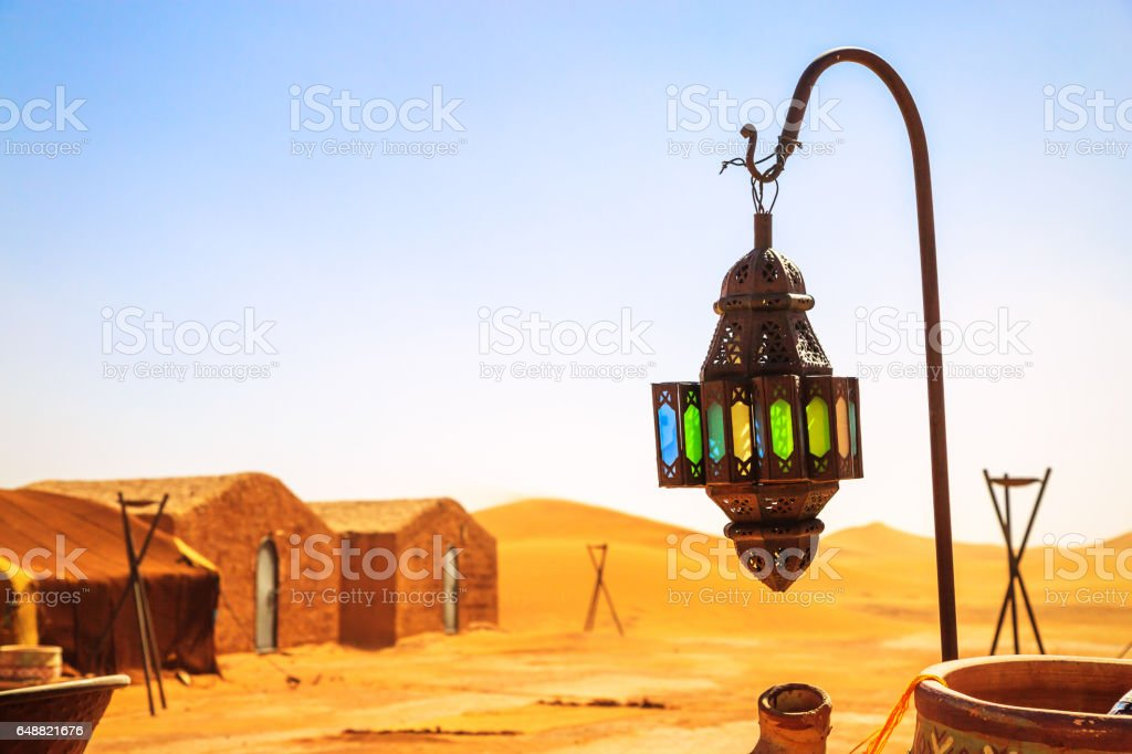 coloreful berber lamp with traditional nomad tents on background stock photo