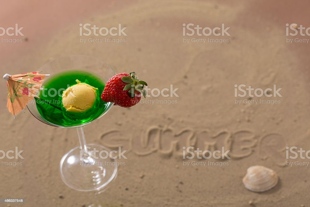 colorfu ice cocktail cup with fruits for the hot summer stock photo