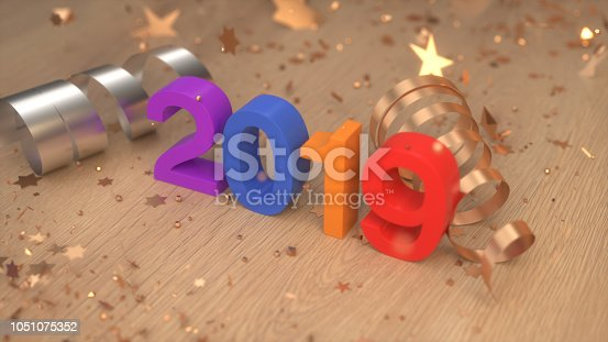 istock Colorful 2019 number with confetti and serpentine 1051075352