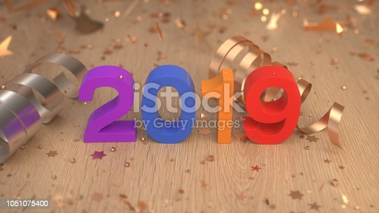 istock Colorful 2019 number with confetti and serpentine 1051075400