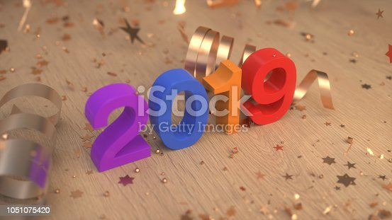 istock Colorful 2019 number with confetti and serpentine 1051075420