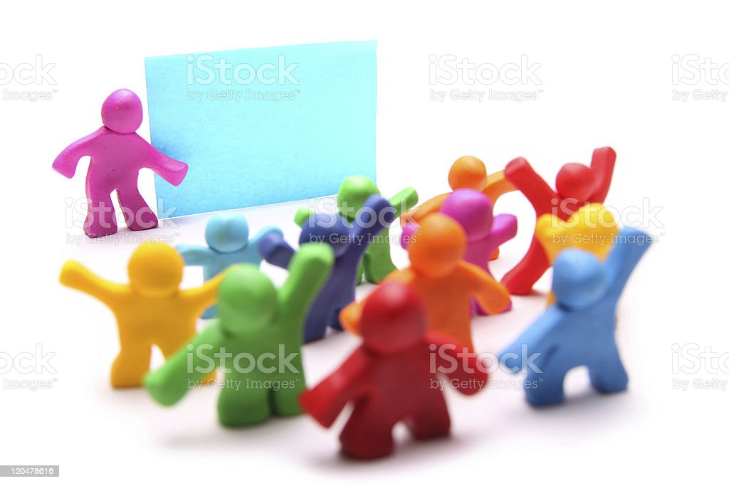 Colorful 3D children with teacher in school royalty-free stock photo
