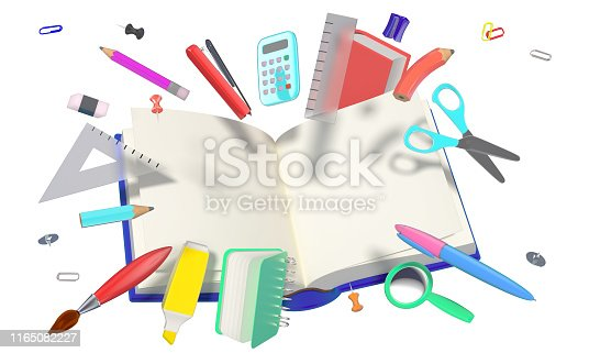 istock colorful 3D composition with different school related objects 1165082227