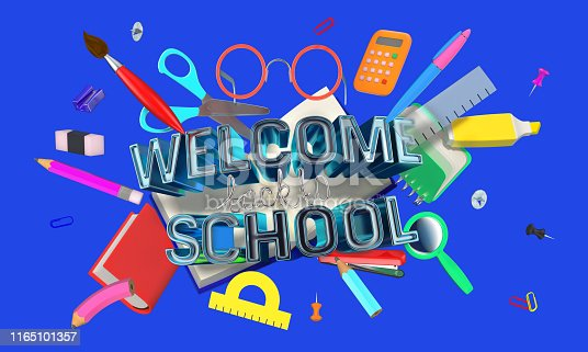istock colorful 3D composition with different school related objects 1165101357