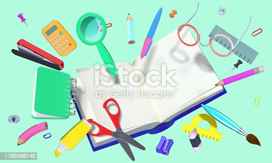 istock colorful 3D composition with different school theme objects 1165098140