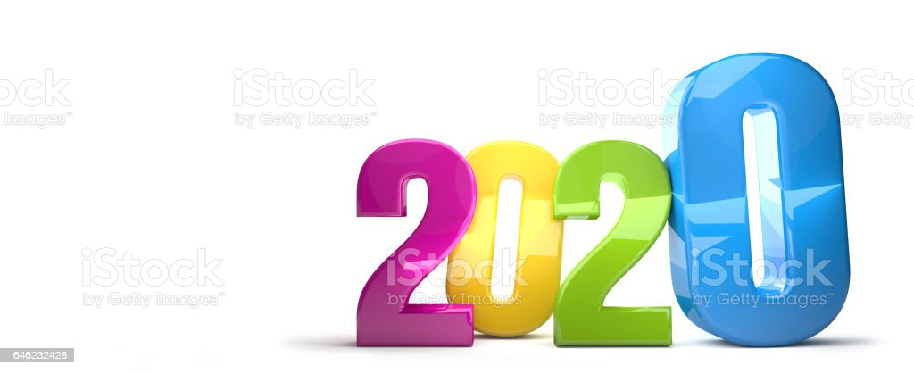 2020 colorful 3D render stock photo